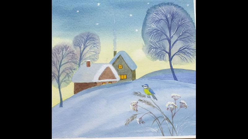 Christmas cards in Watercolour interactive online course via zoom