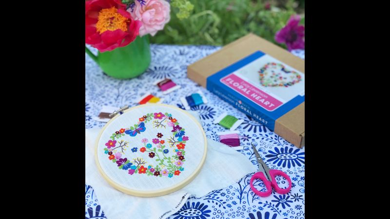 FLORAL HEART EMBROIDERY KIT - LUCY LEVENSON