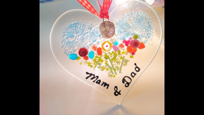 Ashes to Glass Heart Sun Catcher 9cm back lit