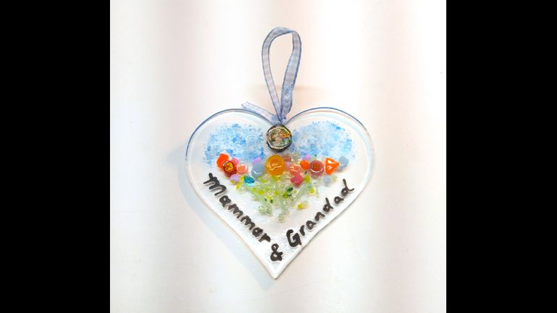 Ashes to Glass Heart Sun Catcher 9cm