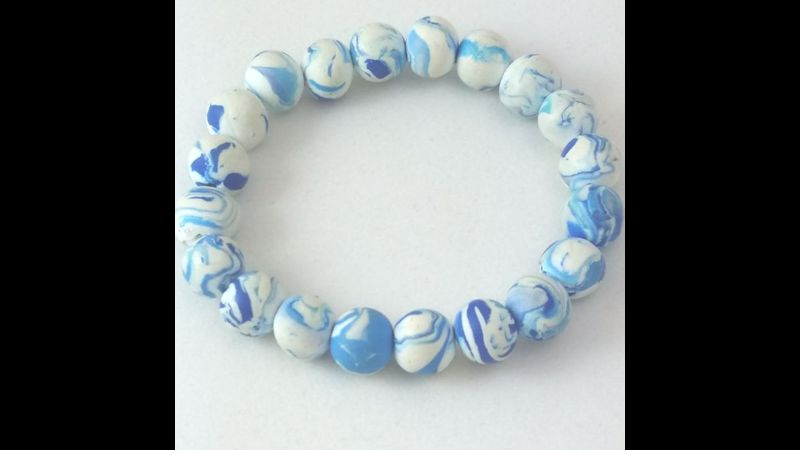Light blue marble polymer clay bracelet by Yasmin Ali