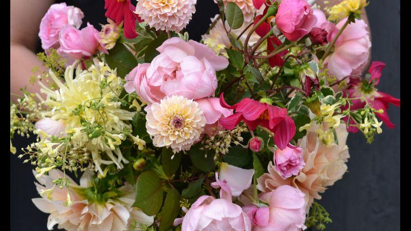 Hand tied David Austin roses and cafe au lait dahlias