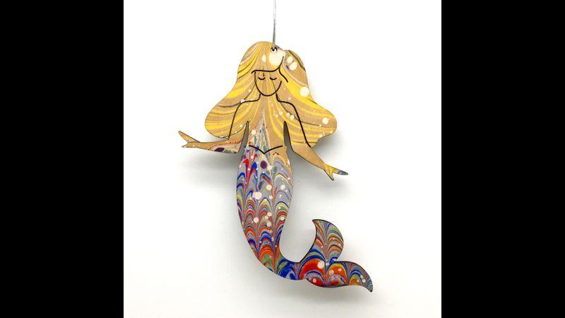 Marbled Woodcut Mermaids