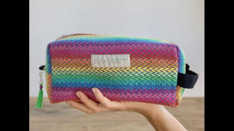 Rainbow wash bag handwoven in the UK