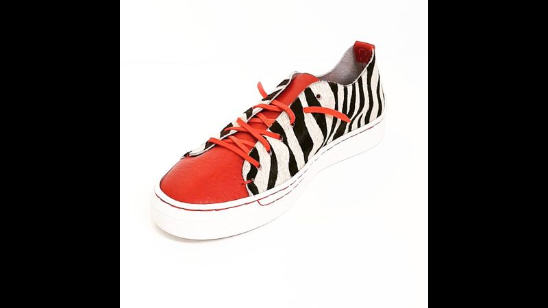 Zebra & red leather sneakers