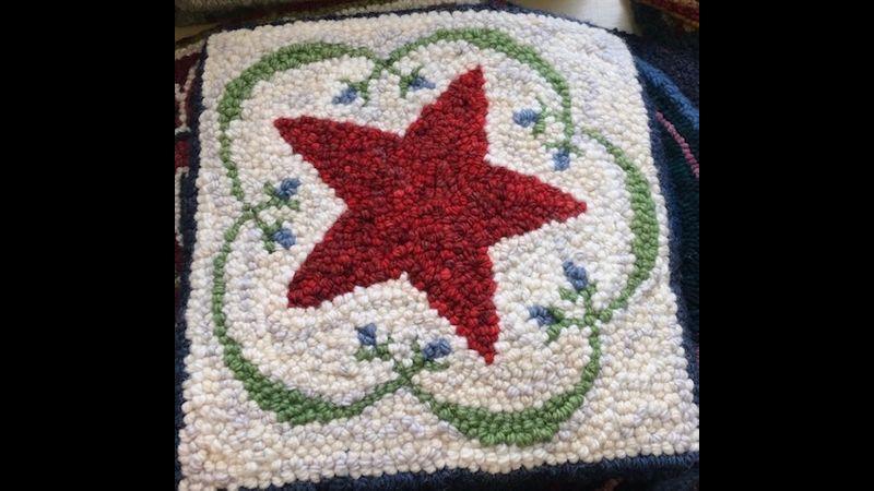 Red star on white ground