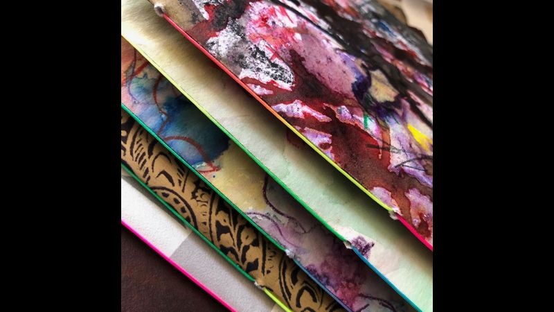 Cover detail from The Art of Journalling bookbinding and writing course at The Arienas Collective