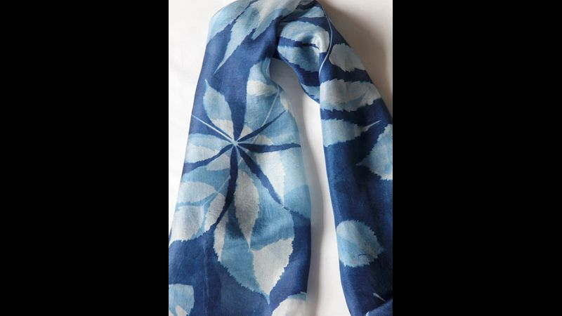 'Leaves' 100% Silk Scarf hand-printed using the Cyanotype process.