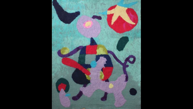 Walking the Dog, Miro inspired wall hanging (2mx1.7m Made with the Reception-Year 6 pupils of Haymerle School.