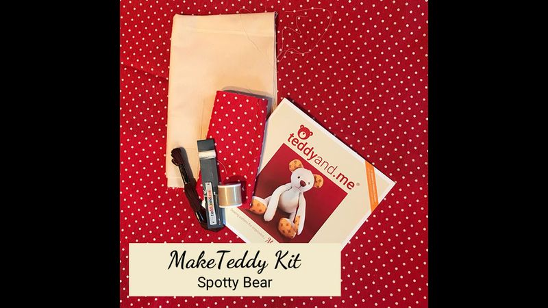 MakeTeddy Sewing Kit - Spotty Bear - Contents