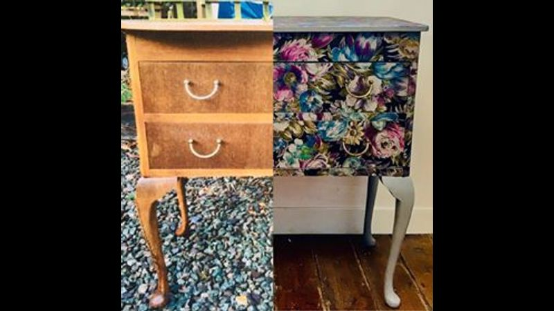 A before and after pic of a piece that has been decoupaged with fabric....