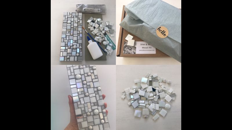 Mosaic kit in a box - silver and white wall art