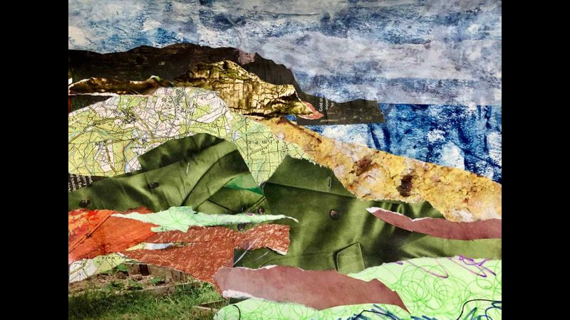 Landscape collage using various types of papers.