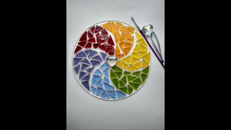 Stained glass rainbow mosaic mandala kit