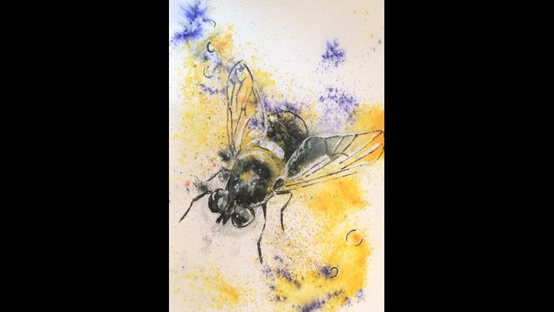 Bee One in mixed media