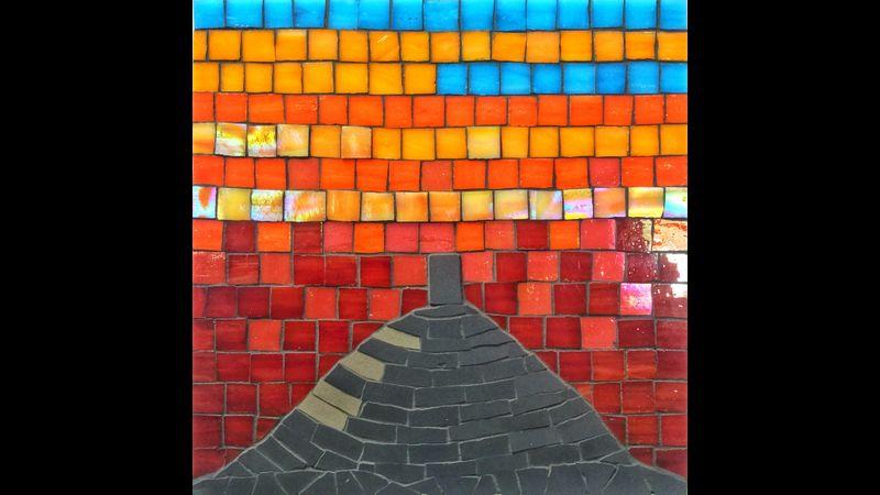 Glastonbury Tor at sunset mosaic