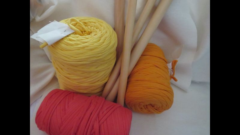 Yellow Orange and Coral T.Shirt Yarn