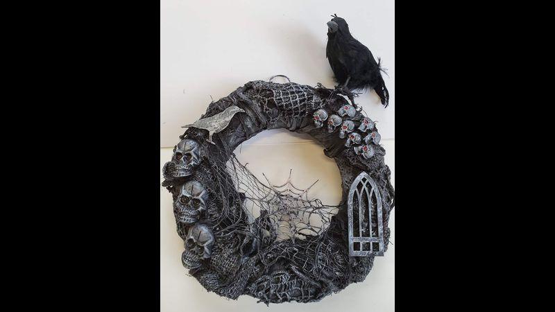 Edgar Allen Poe themed wreath by workshop attendee
