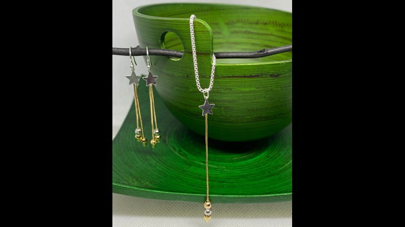Shooting stars earrings & necklace