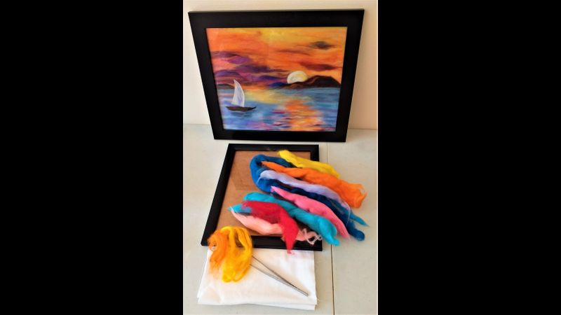 'Sunset' wool fibre painting kit suitable for beginners