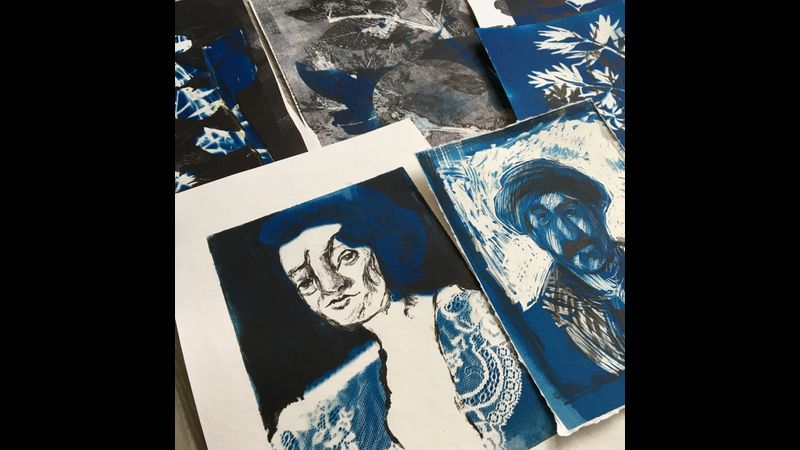 Examples of prints made with blue and black ink