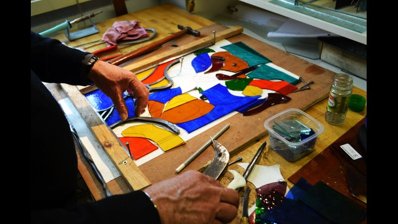 Stained glass course. Intermediate and advance level. Glass Lab Edinburgh