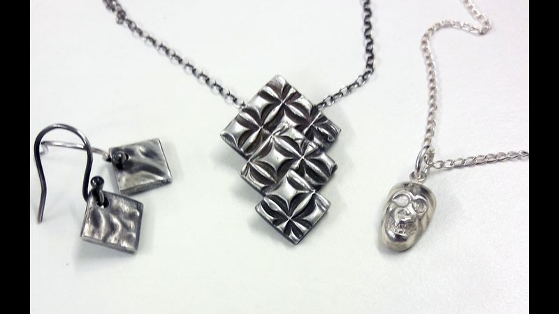 Set of pieces made by a previous student on a silver clay introduction day