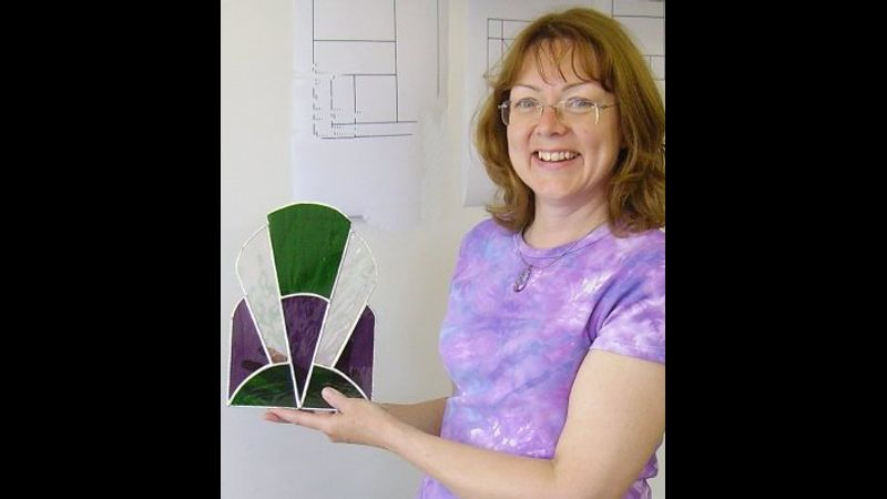 One of our beginners copper foiled stained glass designs, made by student Heather