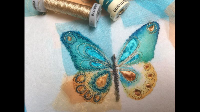 Free motion machine embroidered butterflies with Gill Collinson