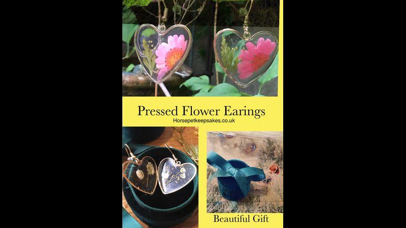 Heart shaped pressed flower handmade earrings