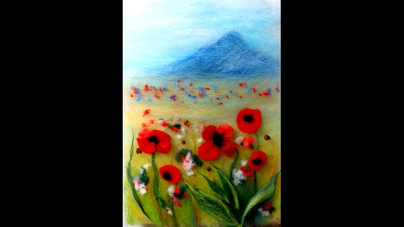 'Field with red poppies' wool painting kit