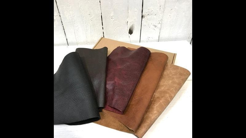muted tones leather offcuts