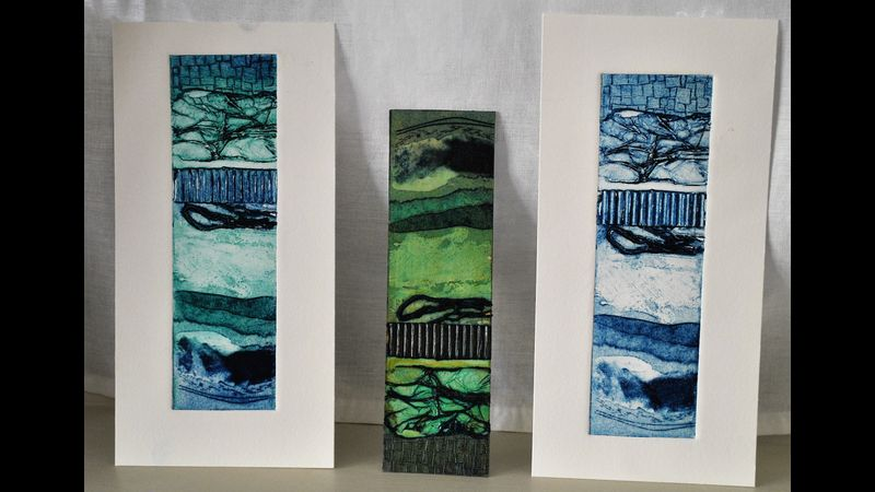 A small abstract collagraph plate with textural elements, inked two ways. (monochrome and colour-blending)