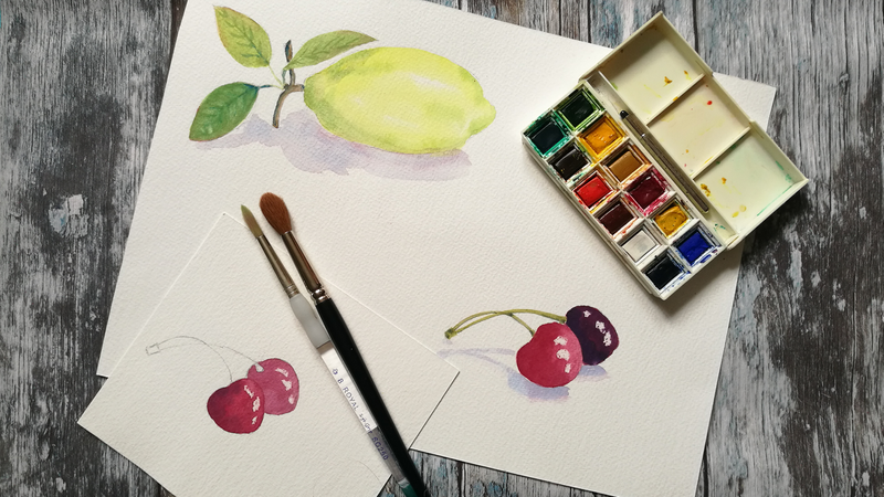 Watercolour fruit
