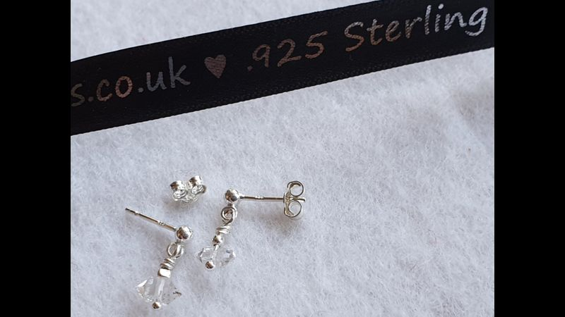 ♥Herkimer Diamonds Double Terminated 925 Sterling Silver Earring Wires and Scrolls♥