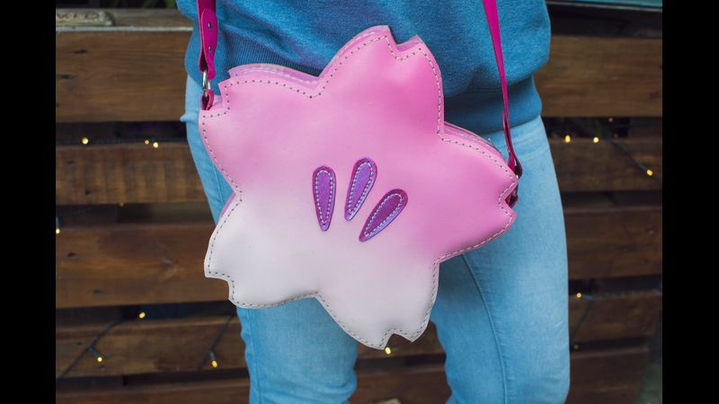 A finished cherry blossom bag, perfect for spring