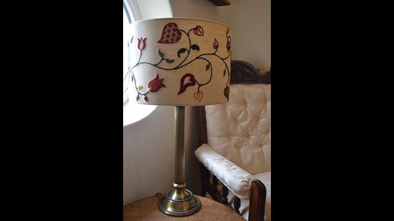 Crewelwork lampshade - Autumn