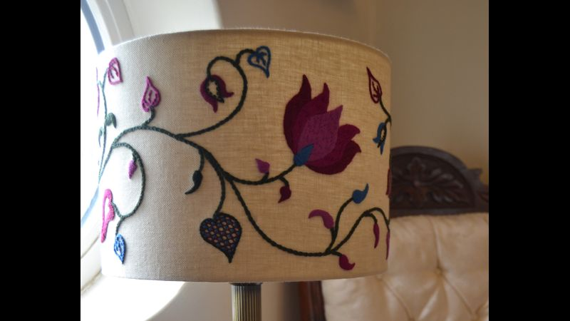 Crewelwork lampshade - Summer