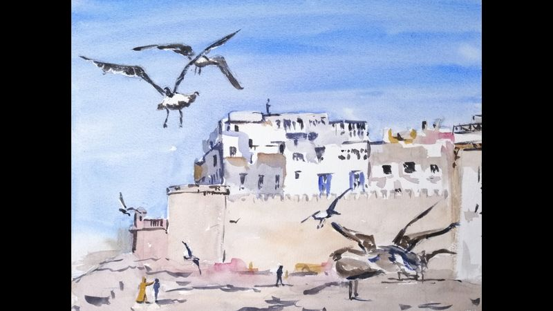 Moroccan Harbour in watercolour