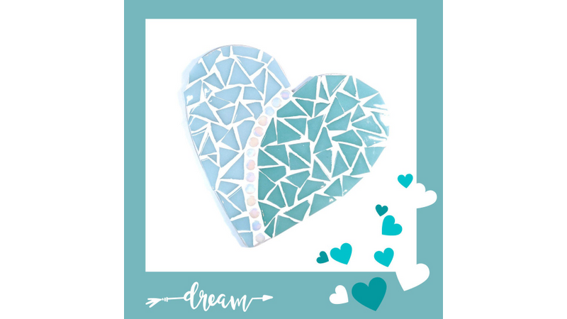 Light Blue and Teal Love Heart Mosaic Kit