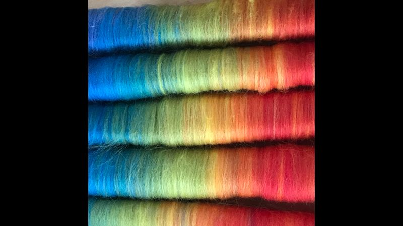 rainbow fauxlags from a drum carder