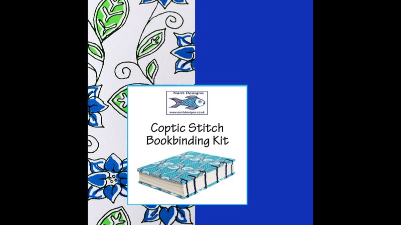 Coptic bookbinding Kit with Blue 'flowers' cover paper