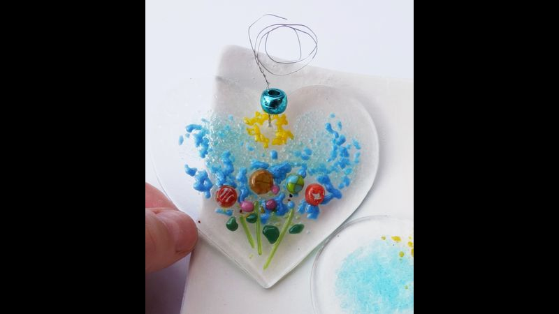 Fused glass Floral Heart Duo Kit 8cm