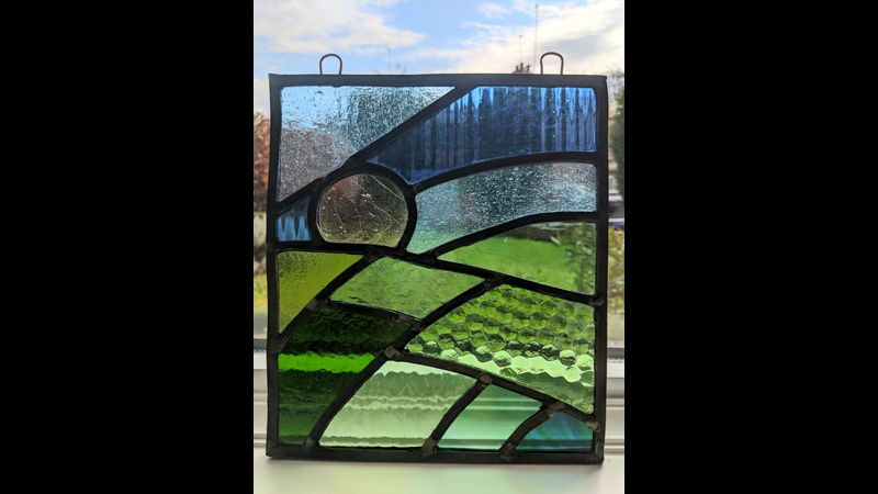 Student leaded stained glass panel.