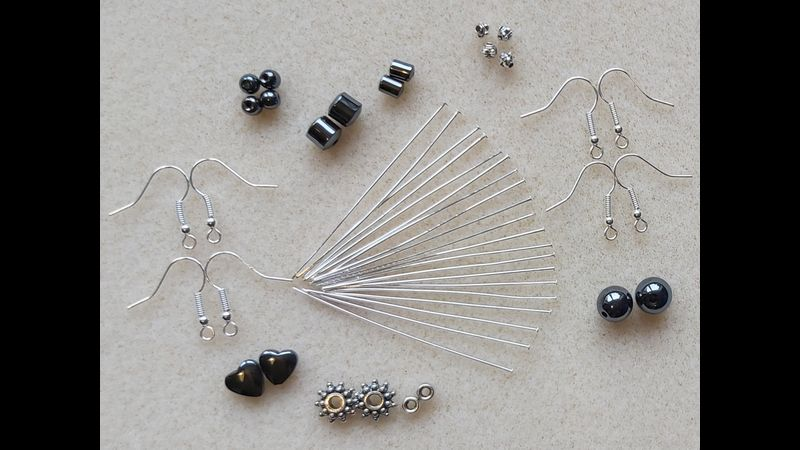 CONTENTS OF YOUR BCT HEMATITE EARRINGS  KIT (Beads shapes may vary due to stock level availability)