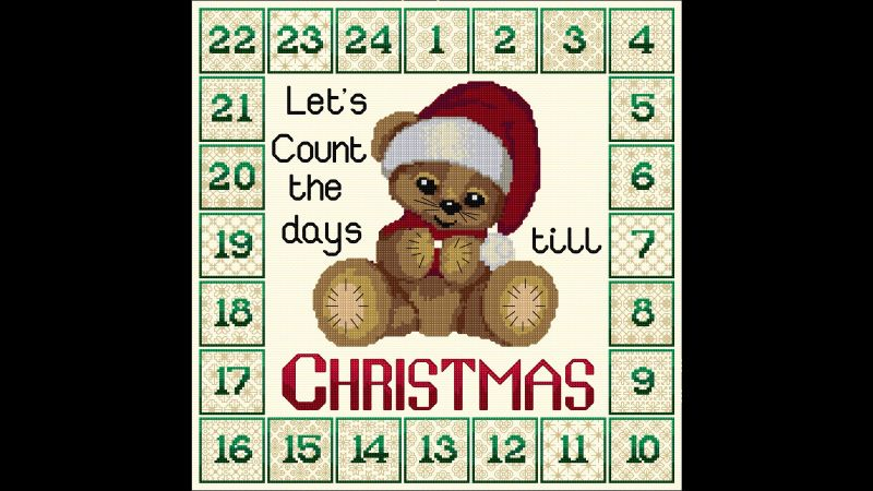 Cross stitch and Blackwork embroidery Advent Clock with Bear