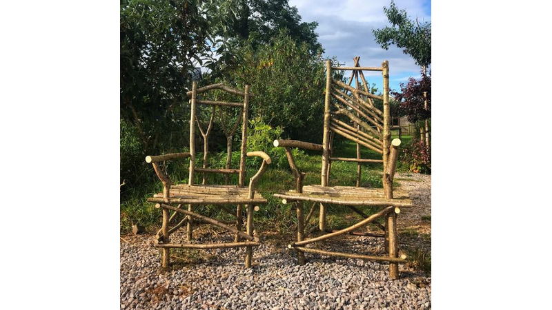 Green wood chairs at Humble by Nature
