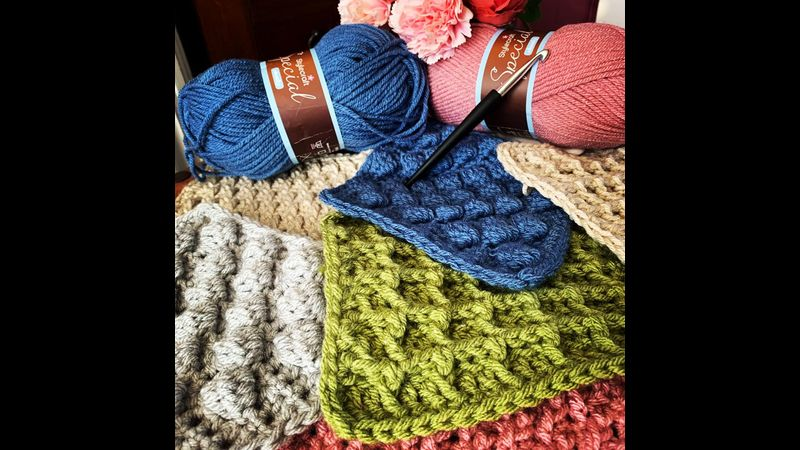 Textured Squares Afghan Crochet
