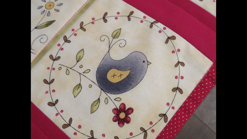 The bird fabric part of Seasonal Table runner
