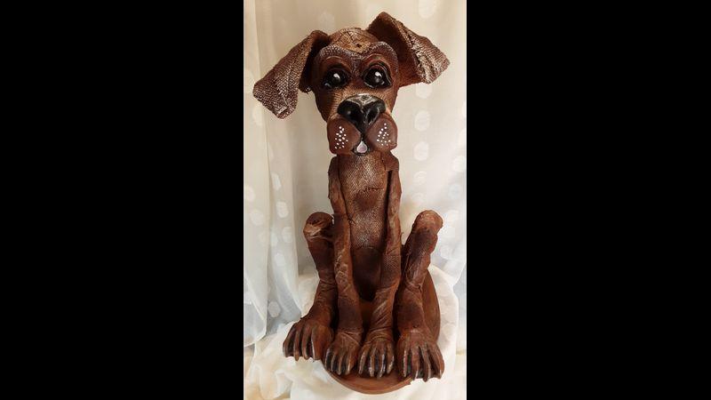 Trusty Rusty Fabric Sculpted Dog